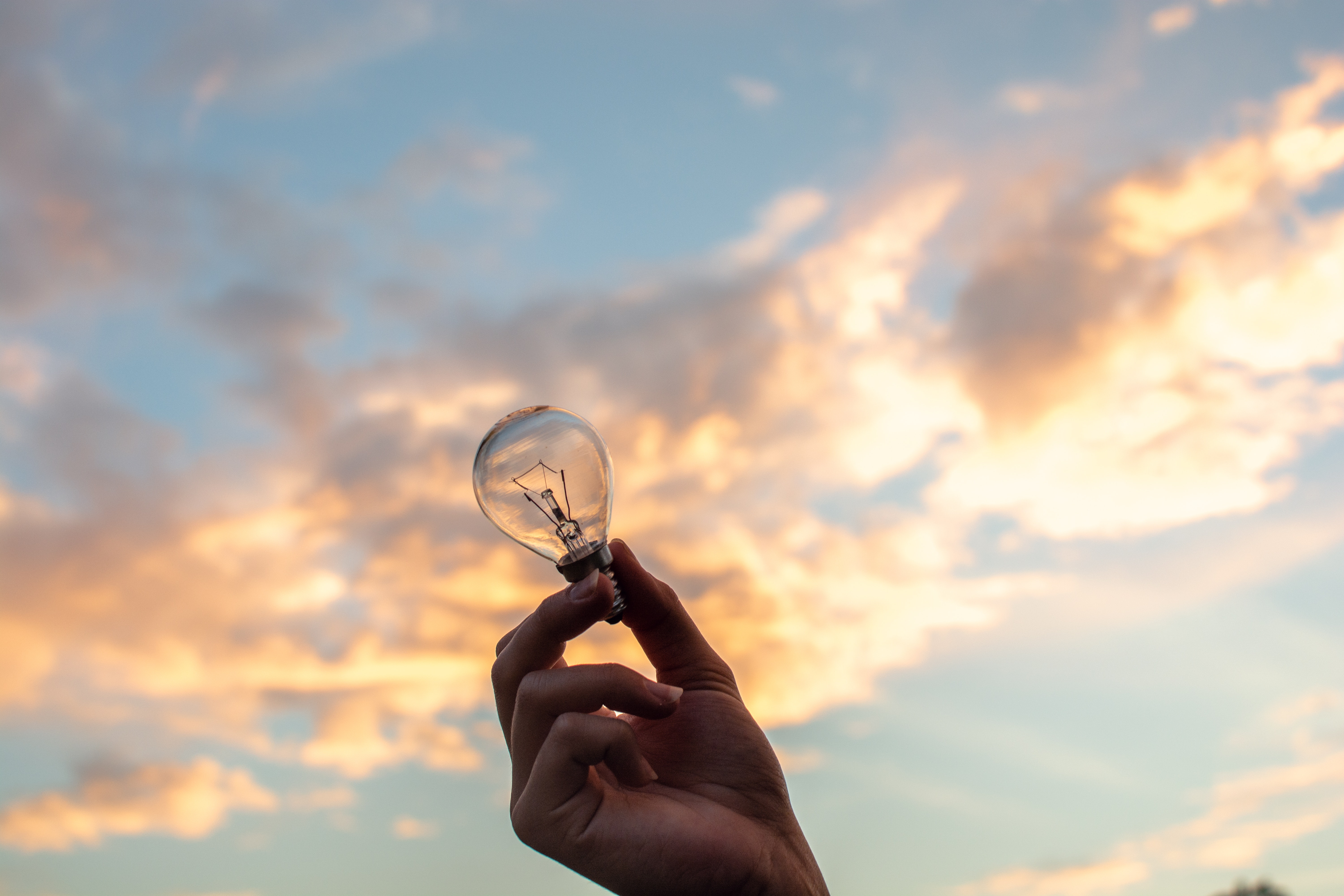 person holding clear light bulb 1314410
